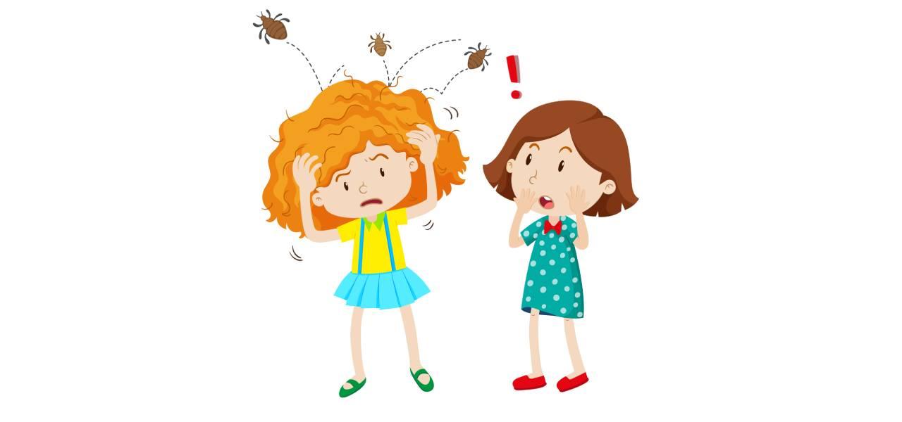 Ilustracija dve drugarice od kojih jedna ima vaške i češa se za glavu a druga je gleda začuđeno