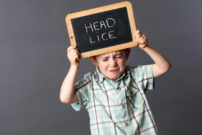 """Slika deteta u košulji koje drži crnu tablu na kojoj piše na engleskom """"Head lice"""""""